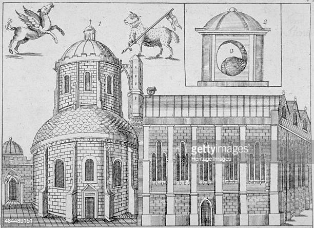 Temple Church City of London 1720 View of the church surmounted by images of a winged horse the Agnus Dei and a depiction of the London Stone