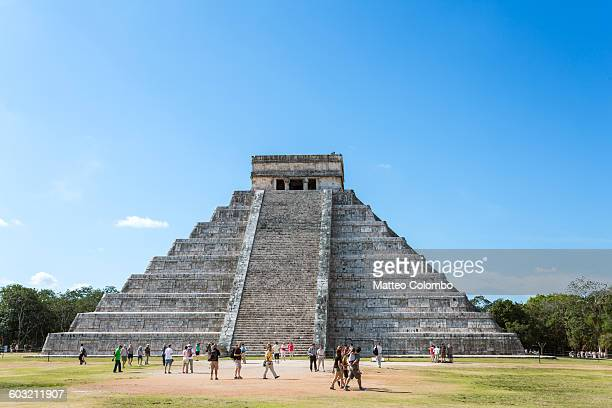 Temple crowded with tourists, Chichen Itza, Mexico