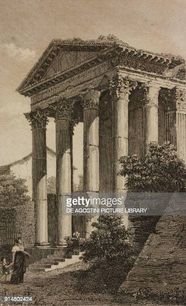 Temple dedicated to the Goddess Roma and Emperor Augustus Pula Croatia engraving by Lemaitre from Provinces Danubiennes et Roumaines by Chopin e...