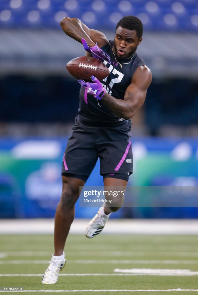 Temple defensive back Sean Chandler (DB47) makes a catch during the NFL Scouting Combine at Lucas Oil Stadium on March 5, 2018 in Indianapolis, Indiana.
