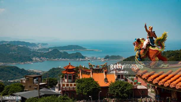 temple front the sea - taiwan stock pictures, royalty-free photos & images
