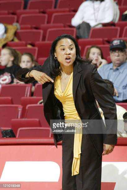 Temple Head Coach Dawn Staley during a 63 to 46 Temple Owl victory over the Penn Quakers at the Liacouras Ctr in Philadelphia Pennsylvania on...