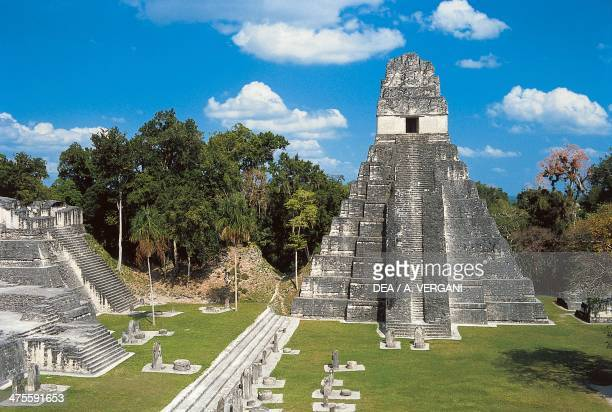 Temple I or Temple of the Jaguar archaeological site of Tikal Tikal National Park El Peten Guatemala Maya Civilisation