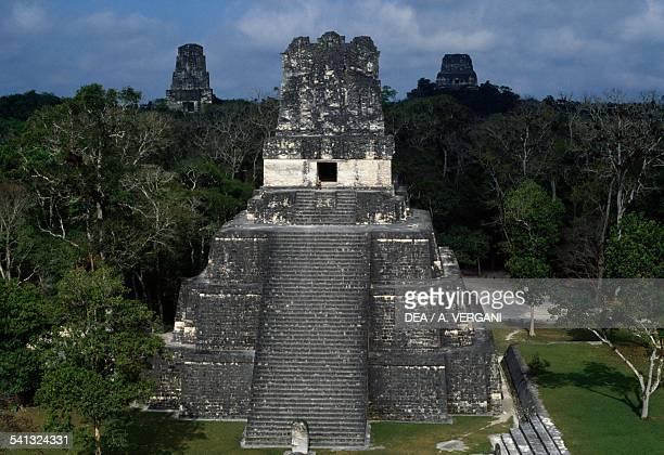 Temple II or Temple of the Masks or Pyramid of the Moon Tikal National Park El Peten Guatemala Mayan civilisation 8th9th century