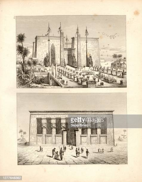Temple in Luxor and Dendera, Fig. 1: Temple of Luxor, after a fortuitous restoration, Fig. 2: View of the Temple of Dendera , Pl. 3, after p. 124,...