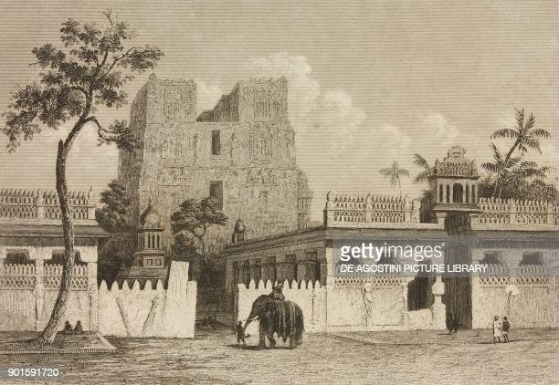 Temple in Rameswaram India engraving by Lemaitre from Japon IndoChine Empire Birman Sima Annam Peninsule Malaise etc Ceylan by AdolphePhilibert...