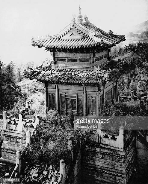 A temple in the ruins of the Old Summer Palace Beijing China circa 1860 The Palace formerly the residence of emperors of the Qing Dynasty was...