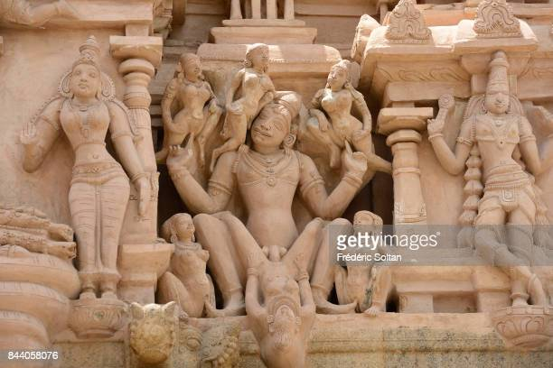 Temple in Thirumayam Sculpture of Vishnu and erotic art on Thirumeyyam Hindu temple dedicated to Lord Vishnu and located in Thirumayam in the...