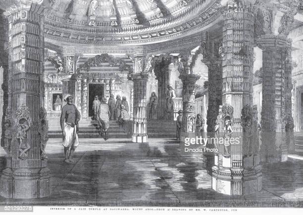 temple interior of jain temple at dailwarra or dilwara, mount aboo or mount abu, rajasthan, india - dilwara temples stock pictures, royalty-free photos & images