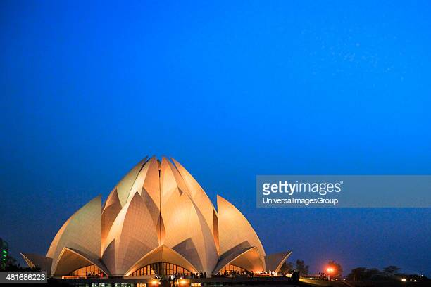 Temple lit up at night Lotus Temple New Delhi India
