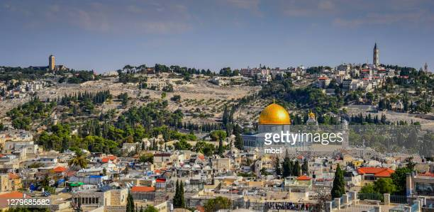 temple mount and dome of the rock view from tower of david in old city of jerusalem israel - east jerusalem stock pictures, royalty-free photos & images