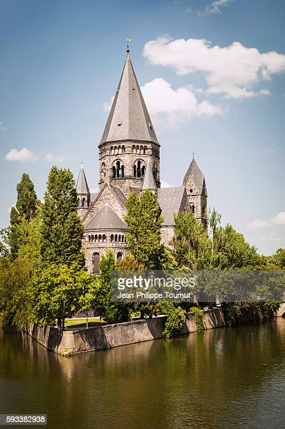 Temple Neuf, Jardin d'amour and the Moselle River in Metz, France