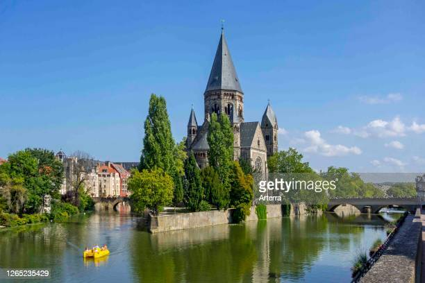 Temple neuf / Nouveau Temple protestant, Neo-Romanesque Protestant Reformed Church along the Moselle river in the city Metz, Moselle, Lorraine,...