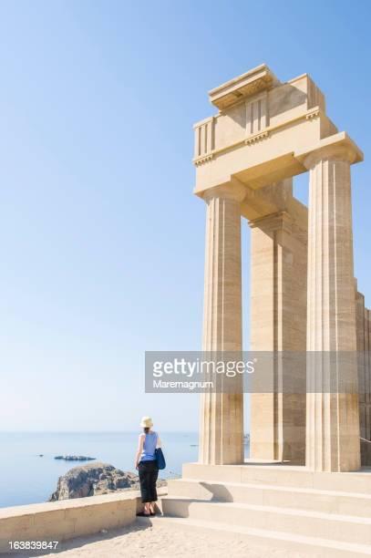 temple of acropolis - lindos stockfoto's en -beelden