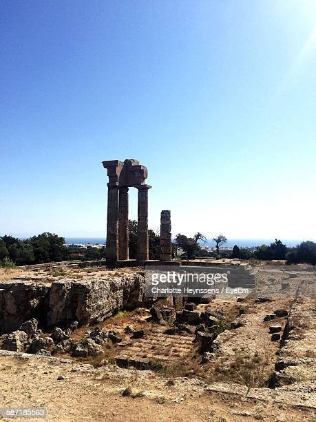 Temple Of Apollo Against Clear Blue Sky