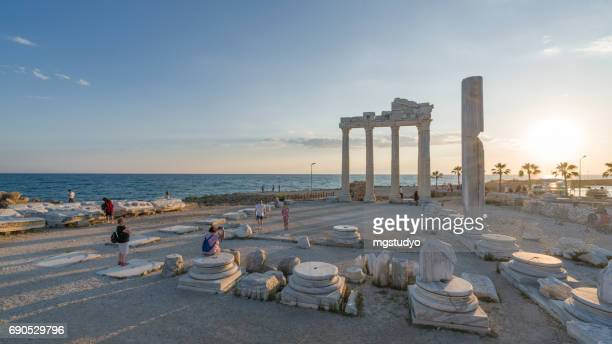 temple of apollo. ancient ruins in side. turkey - ruined stock pictures, royalty-free photos & images