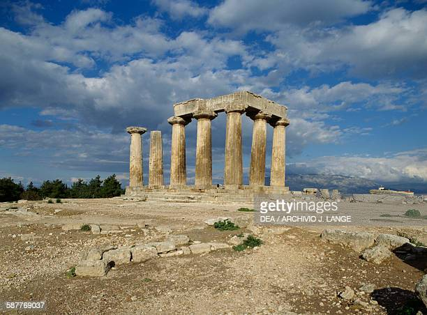 Temple of Apollo ca 540 BC ancient city of Corinth Peloponnese Greece Greek civilisation 6th century BC