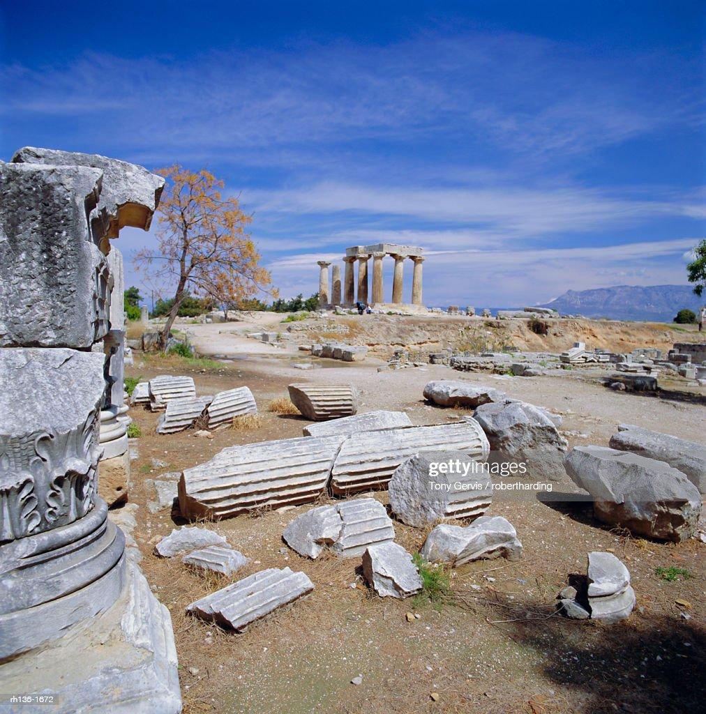 Temple of Apollo, Corinth (Korinthos), Greece, Europe : Foto de stock