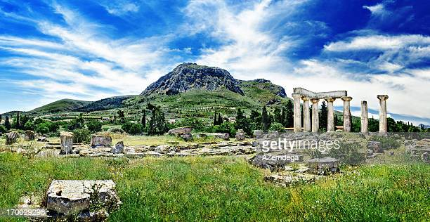 temple of apollo - peloponnese stock photos and pictures