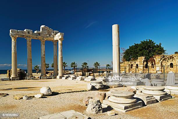 temple of apollo, side, antalya province, anatolia, turkey, asia minor, eurasia - antalya province stock pictures, royalty-free photos & images