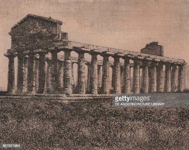 Temple of Athena and Temple of Ceres Paestum Campania Italy woodcut from Le Cento citta d'Italia illustrated monthly supplement of Il Secolo Milan...