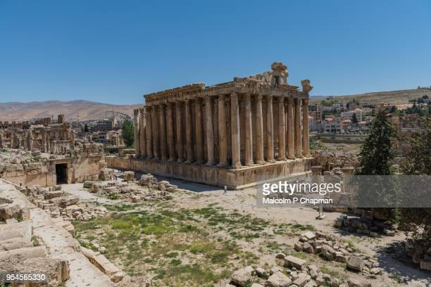 temple of bacchus at heliopolis, baalbek, bekaa valley, lebanon - lebanon stock photos and pictures