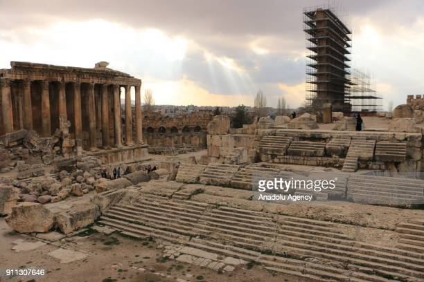 Temple of Bacchus one of the Roman temple ruins and shrine of the temple of Jupiter are seen at the ancient city of Baalbek in Lebanons eastern Beqaa...