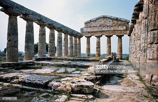 Temple of Ceres or Temple of Athena Paestum Campania Italy Ancient Greek civilisation 5th century BC