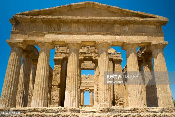 Temple of Concord front close up view of columns, in the Valley of the Temples, Agrigento, Sicily, Italy..