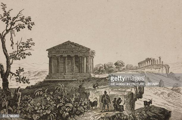 Temple of Concordia Valley of the Temples Agrigento Sicily Italy engraving by Lemaitre from Italie by AlexisFrancois Artaud de Montor Sicilie by...