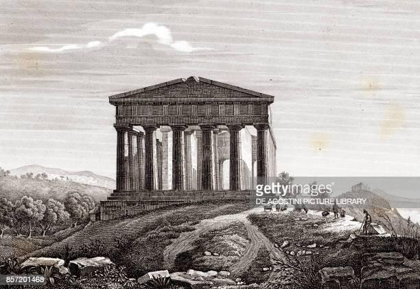 Temple of Concordia Valley of the Temples Agrigento Sicily Italy copper engraving 29x195 cm from Corografia fisica storica e statistica dell'Italia e...