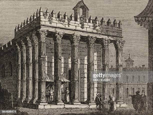 Temple of Diana Evora Portugal illustration from Teatro universale Raccolta enciclopedica e scenografica No 66 October 3 1835