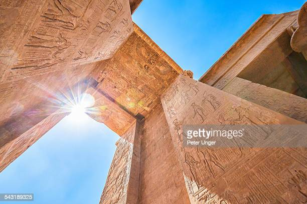 temple of edfu - hieroglyphics stock pictures, royalty-free photos & images