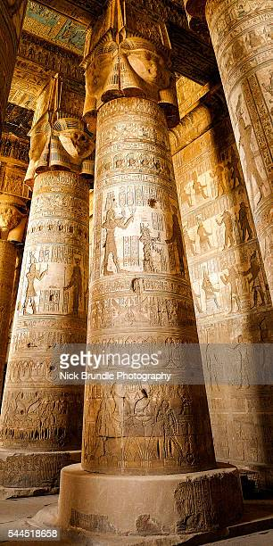 temple of hathor, dendera, egypt - tempelcomplex van dendera stockfoto's en -beelden
