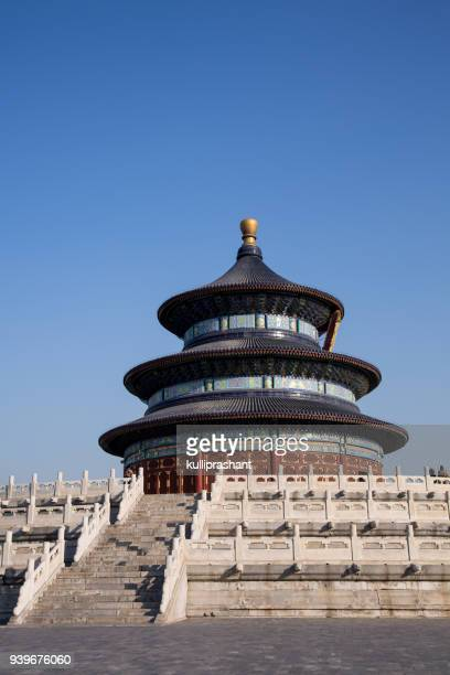 temple of heaven, beijing, with no people in the frame - temple of heaven stock pictures, royalty-free photos & images