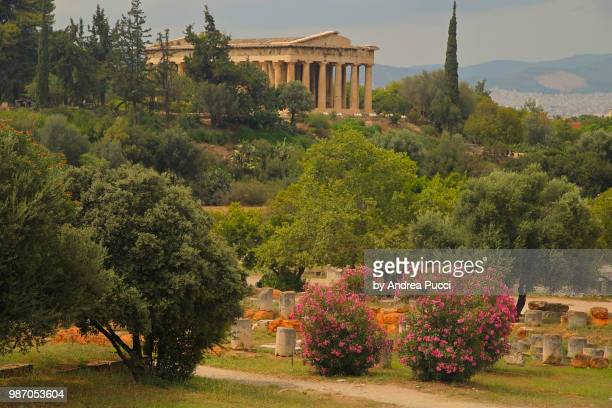 temple of hephaestus, ancient agora of athens, athens, greece - ancient greece photos stock pictures, royalty-free photos & images