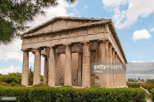 temple of hephaestus (hephaisteion) - temple grec photos et images de collection