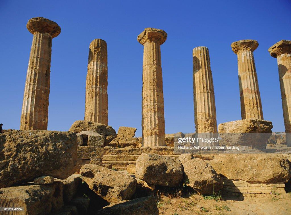 Temple of Hercules (circa 500 BC), Agrigento, Sicily, Italy : Foto de stock