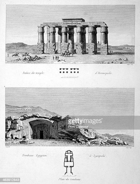 Temple of Hermopolis and Egyptian Tombs of Lycopolis 1802 Ancient Egyptian sites at ElAshmunein and Asyut A plate from Voyage dans la Basse et la...