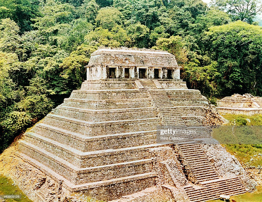 Temple of Inscriptions, Palenque, Mexico. This pyramid topped with a temple is an example of classical Mayan architecture. Within the pyramid a chamber was discovered housing the sarcophagus of Pacal the Great, a king who ruled from 615-683.
