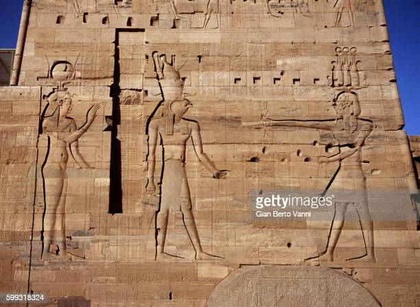 Temple of Isis in Philae, Second Pylon with Sunk Relief Sculpture of Ptolemy XIII Offering to Horus and Isis