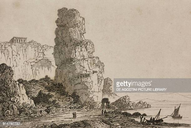 Temple of Jupiter Anxur known as Palace of Theodoric Terracina Lazio Italy engraving by Lemaitre from Italie by AlexisFrancois Artaud de Montor...