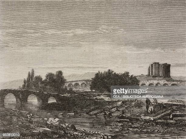 Temple of Jupiter bridge and banks of the Rhyndacus river Aizani TsciavdirHissar Turkey from Voyage from Constantinople to Ephesus through Asia Minor...