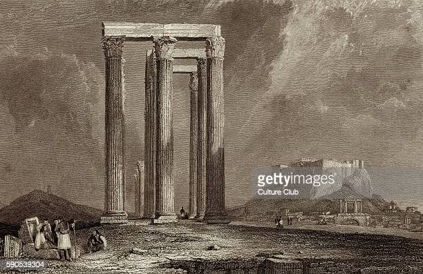 Temple of Jupiter / Temple of Olympian Zeus Athens Greece Ruined temple dedicated to the Zeus King of the Olympian gods After the engraving by...