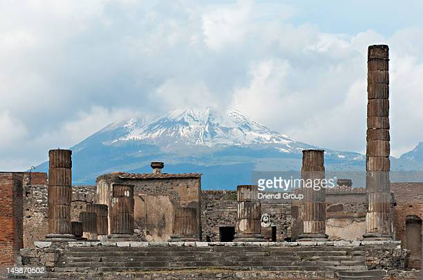 Temple of Jupiter with Vesuvius in the distance.