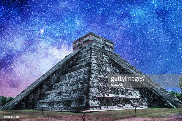 Temple of Kukulkan with galactic night background