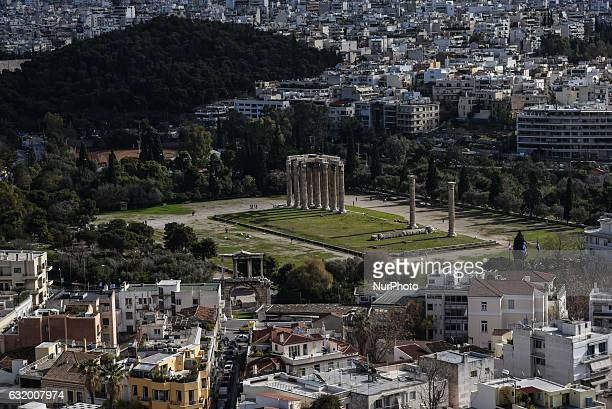Temple of Olympian Zeus Athens as seen from the Acropolis of Athens in Athens on January 18 2017