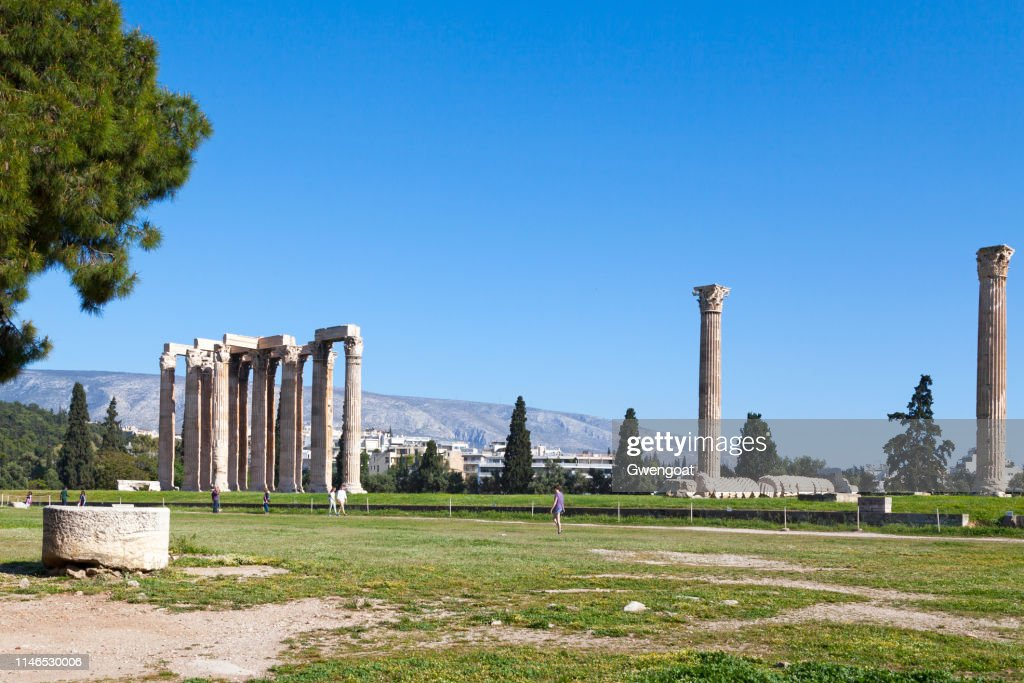 Temple of Olympian Zeus in Athens : Stock Photo