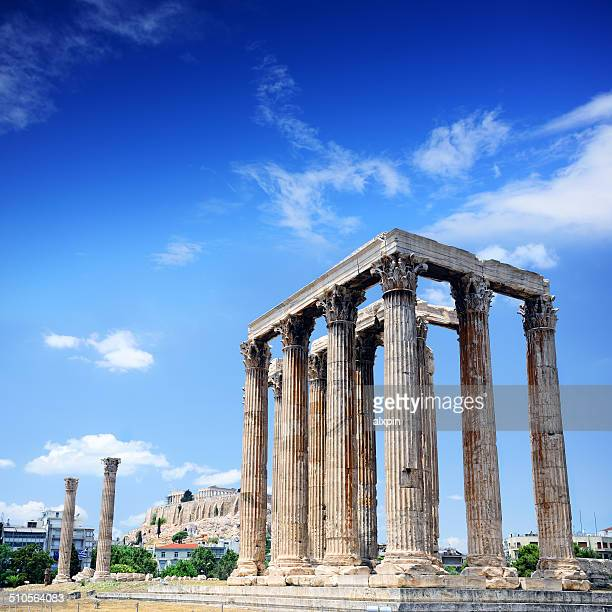temple of olympian zeus - ruined stock pictures, royalty-free photos & images