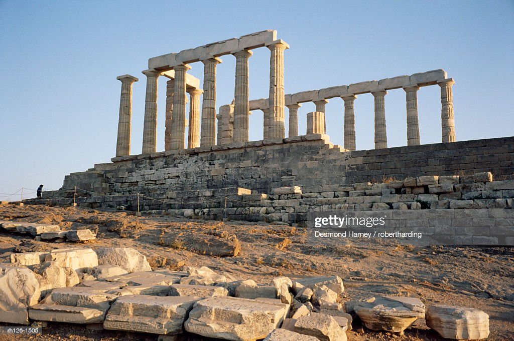 Temple of Poseidon, 5th century, Sounion, Cape Sounion, Greece, Europe : Foto de stock